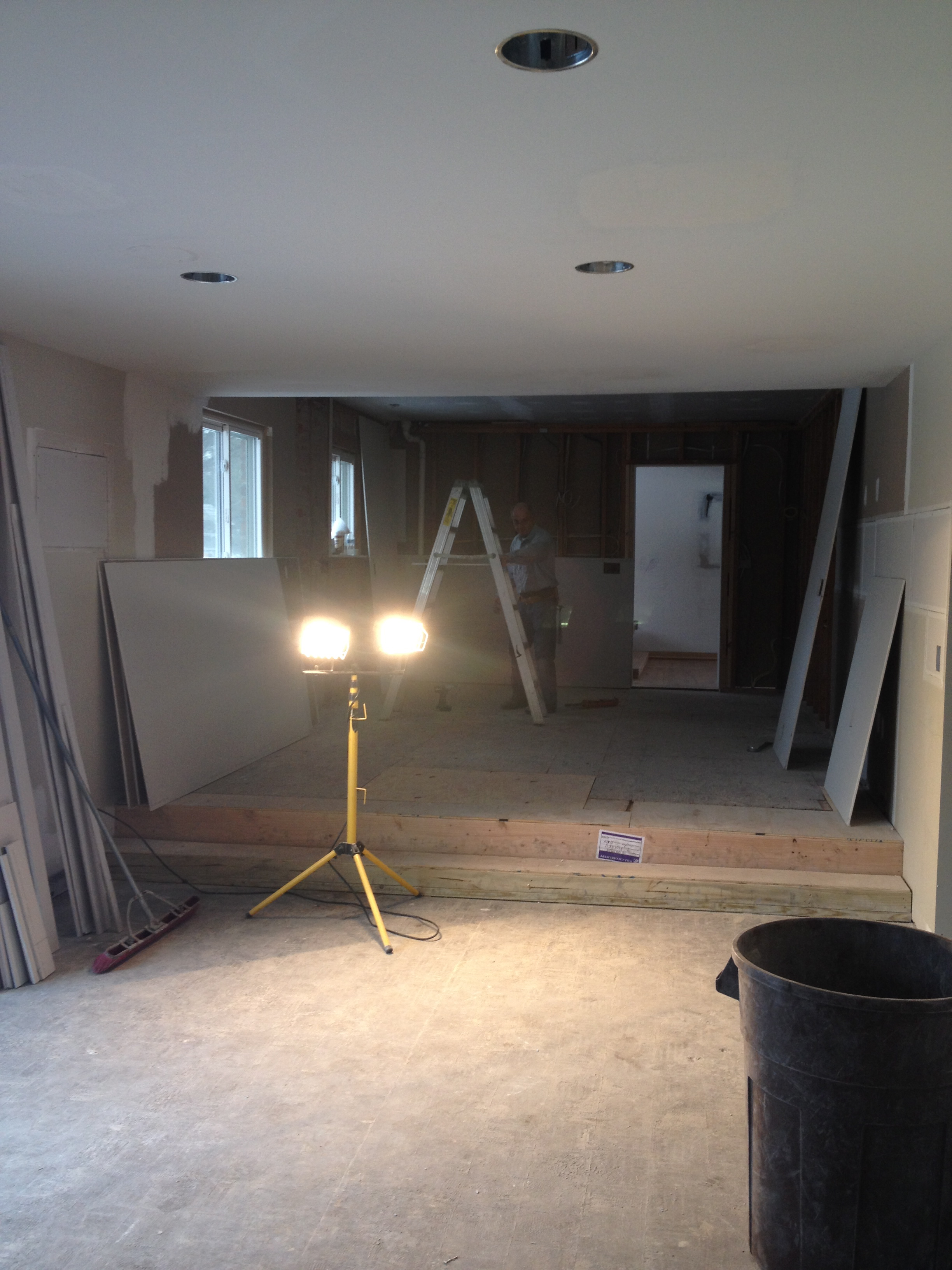 New living room into open kitchen