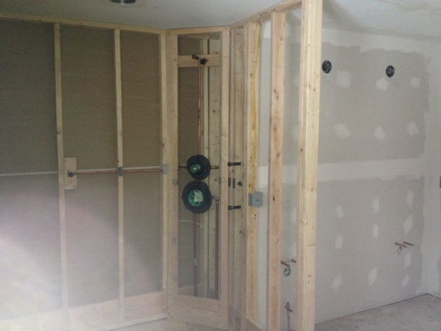 Master shower and vanity areas